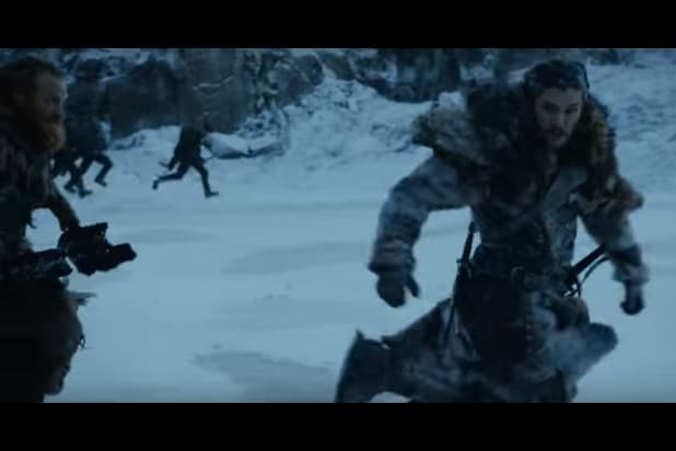 game of thrones trailer tormund and jon run from whatever this is