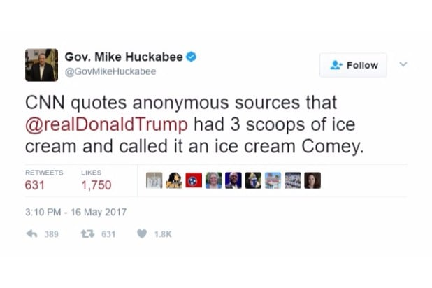 huckabee joke ice cream comey