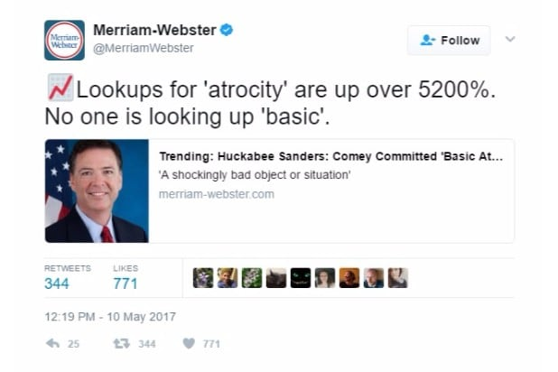 merriam-webster dictionary twitter trump corrections atrocity