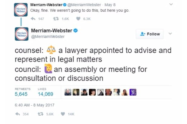 merriam-webster dictionary twitter trump corrections counsel council