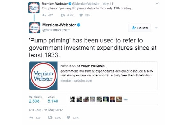merriam-webster dictionary twitter trump corrections priming the pump