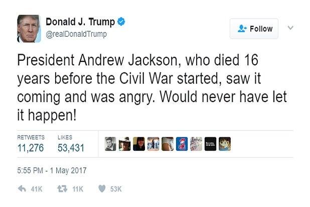 trump twitter andrew jackson history fake