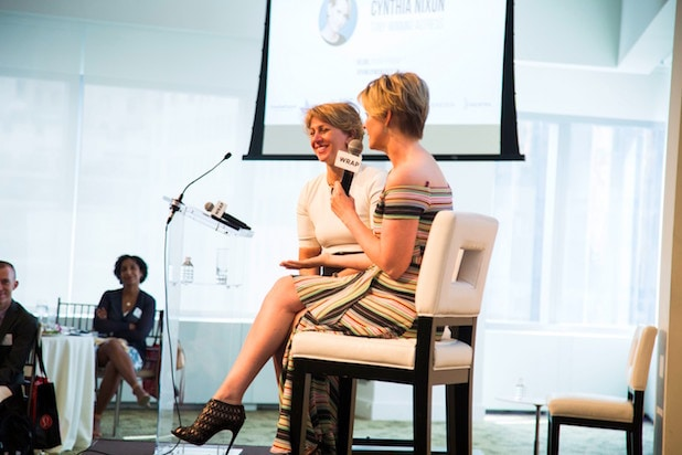Cynthia Nixon and Sharon Waxman at Power Women NYC Breakfast 2017
