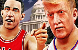 Obama Trump basketball