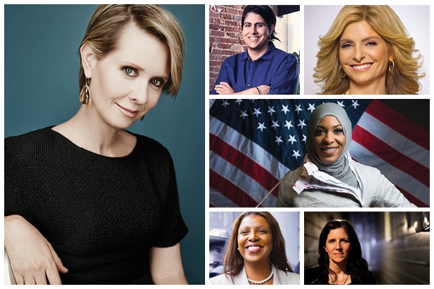 Power Women Cynthia Nixon Letitia James Lisa Bloom Ibtihaj Muhammad Moj Mahdara Laura Poitras