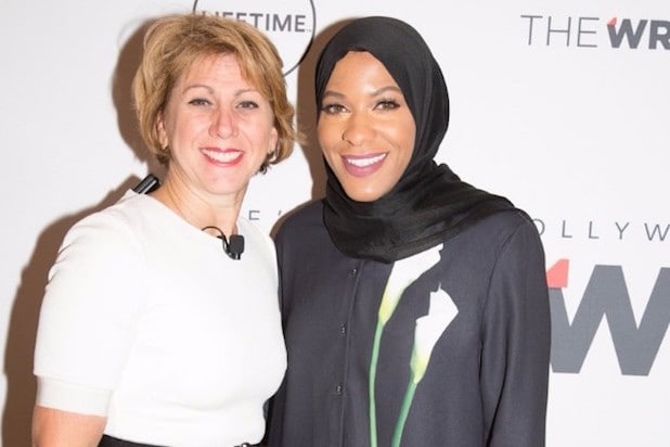 Sharon Waxman Ibtihaj Muhammad Lisa Bloom and Laura Poitras Power Women Breakfast New York 2017
