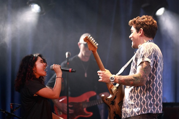 LOS ANGELES, CA - JULY 26: Alessia Cara (L) and John Mayer perform for Bud Light's Dive Bar Tour at the Echoplex In Los Angeles on July 26, 2017 in Los Angeles, California. (Photo by Rich Fury/Getty Images for Bud Light)