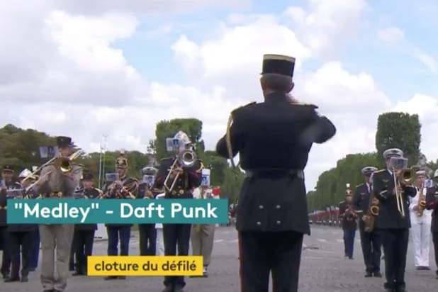 Marching band performs Daft Punk at Paris Bastille Day parade