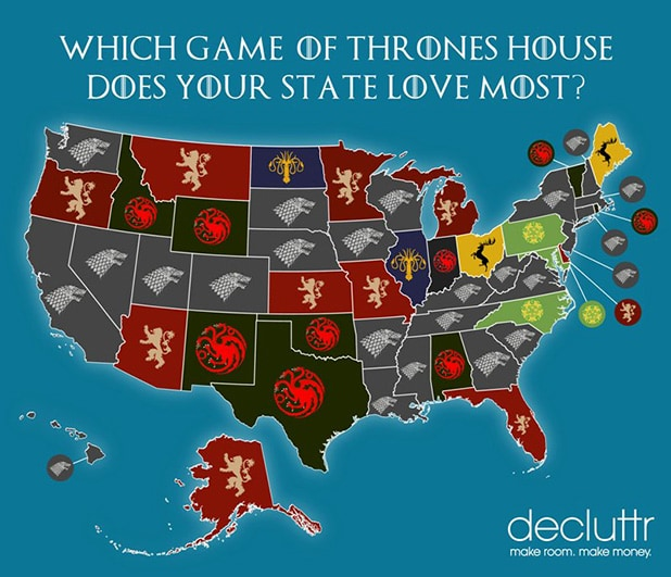 Game of Thrones by state