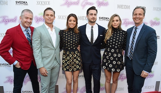 Neon's Tim League, actors Billy Magnussen and Aubrey Plaza, director Matt Spicer, actor Elizabeth Olsen, and Neon's Tom Quinn