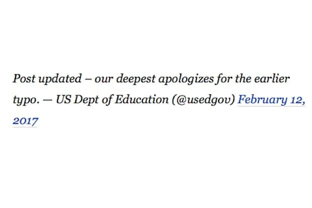 deepest apologies white house typo