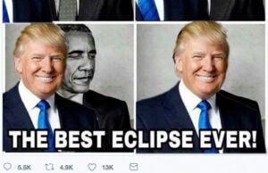 trump obama eclipse retweet
