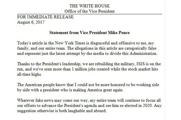 Mike Pence Statement