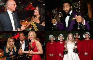 "Inside the sea of Emmy statues, champagne, and flashbulbs as the big winners from ""Big Little Lies,"" ""Atlanta,"" ""Veep,"" and ""The Handmaid's Tale"" soak in their victories."