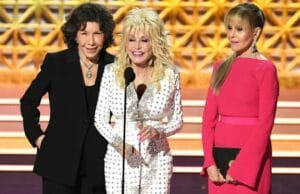 Lily Tomlin, Dolly Parton and Jane Fonda at the 2017 Emmy Awards