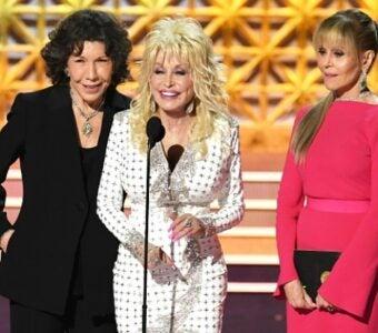 Lily Tomlin, Dolly Parton and Jane Fonda at the 2017 Emmy Awards