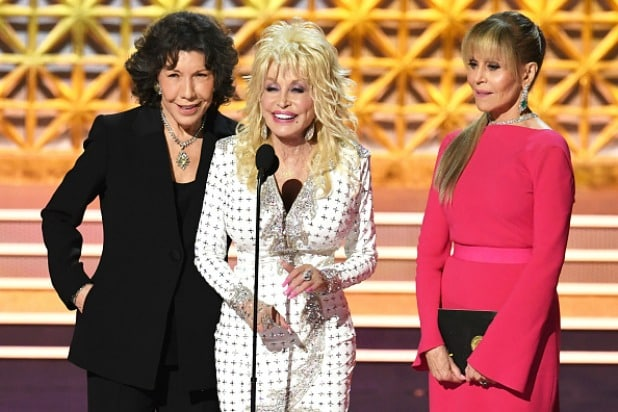 Lily Tomlin, Dolly Parton and Jane Fonda at the 2017 Emmy Awards 9 to 5 #MeToo