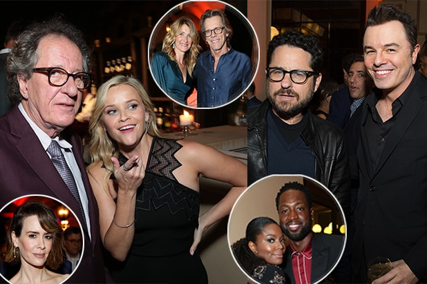 Reese Witherspoon, Sarah Paulson, JJ Abrams, Seth MacFarlane, Laura Dern, Kevin Bacon, and Dwayne Wade amongst the crowd at the CAA Emmys Party 2017. (Alex Berliner/AB Images)