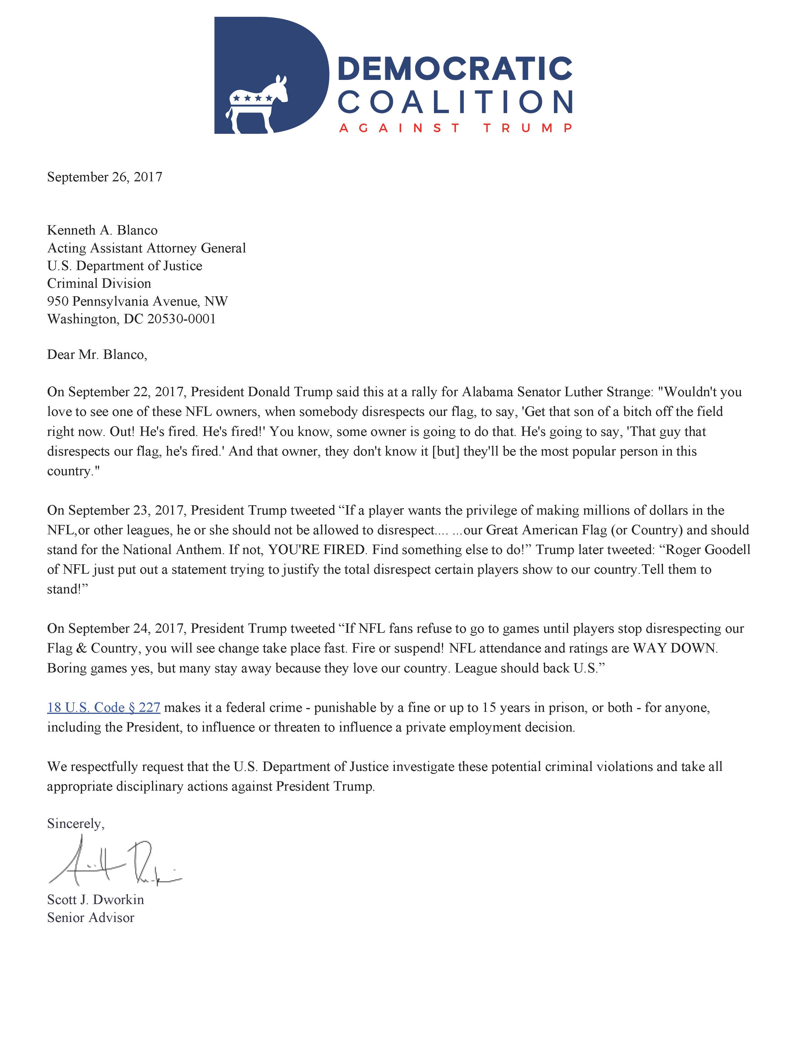 Trump Democratic Coalition Letter