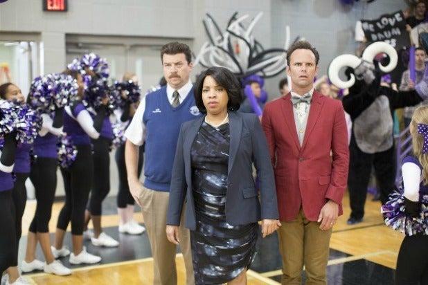 "Danny McBride, Kimberly Hebert Gregory and Walton Goggins in ""Vice Prinicipals"""