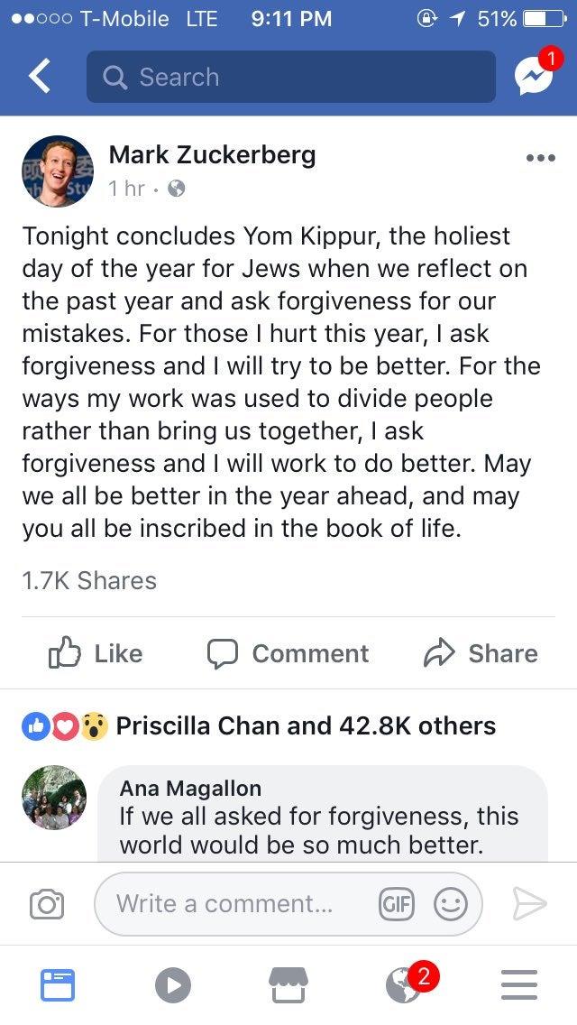 zuckerberg yom kippur