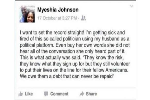 La David Johnson fake Facebook post