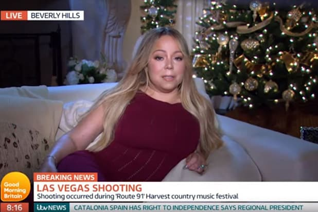 Mariah Carey Interviewed On Vegas Shooting While Lounging By A Christmas Tree