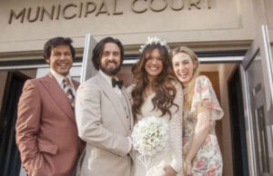 "Jon Huertas (Miguel), Milo Ventimiglia (Jack), Mandy Moore (Rebecca) and Wynn Everett (Shelly) on ""This Is Us"""