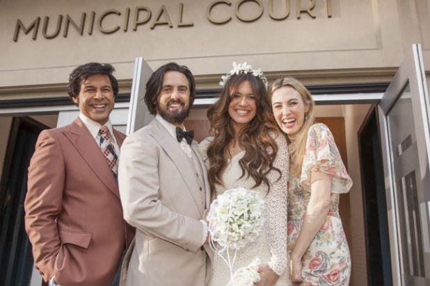 "Jon Huertas (Miguel), Milo Ventimiglia (Jack), Mandy Moore (Rebecca) and Wynn Everett (Shelly) on ""This Is Us"""