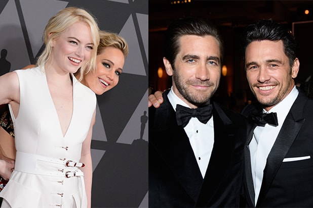 Emma Stone, Jennifer Lawrence, Jake Gyllenhaal, and James Franco highlighting the early awards season celebrations. (AMPAS)