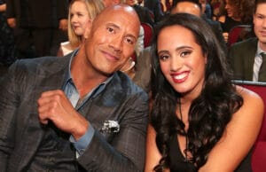 Dwayne Johnson and his daughter Simone Johnson at the 2017 People's Choice Awards. (Getty Images)