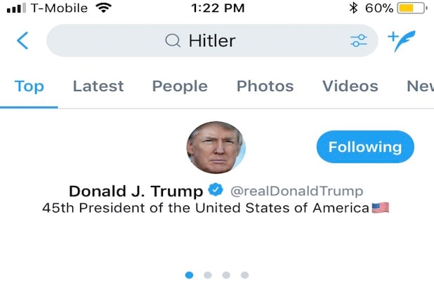 Donald Trump Is First Result in Twitter Search for 'Hitler'