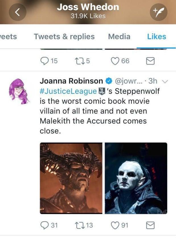 Joss Whedon Steppenwolf Tweet