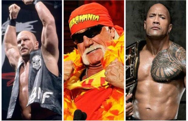 "WWE legends ""Stone Cold"" Steve Austin, Hulk Hogan, and The Rock"