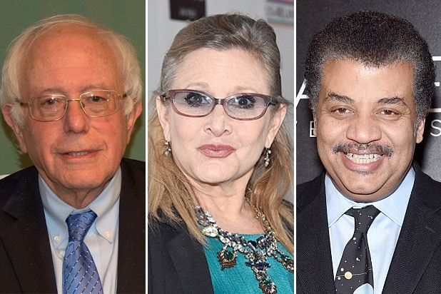 grammy bernie sanders carrie fisher neil degrasse tyson