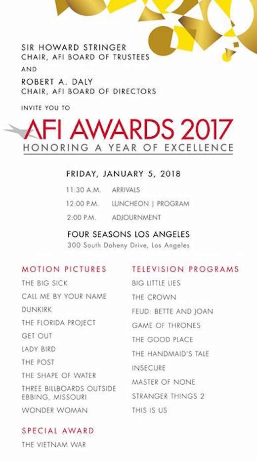 The AFI Names 10 Top Films And 10 Top TV Shows Of The Year For Induction In  To Their Almanac, A Proverbial Hall Of Fame.