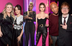 Kelly Clarkson, Camila Cabello, Mary J. Blige, Selena Gomez, Pharrell Williams, and Ed Sheeran at Billboard's Women in Music event at the Dolby Ballroom on November 30, 2017. (Getty Images)