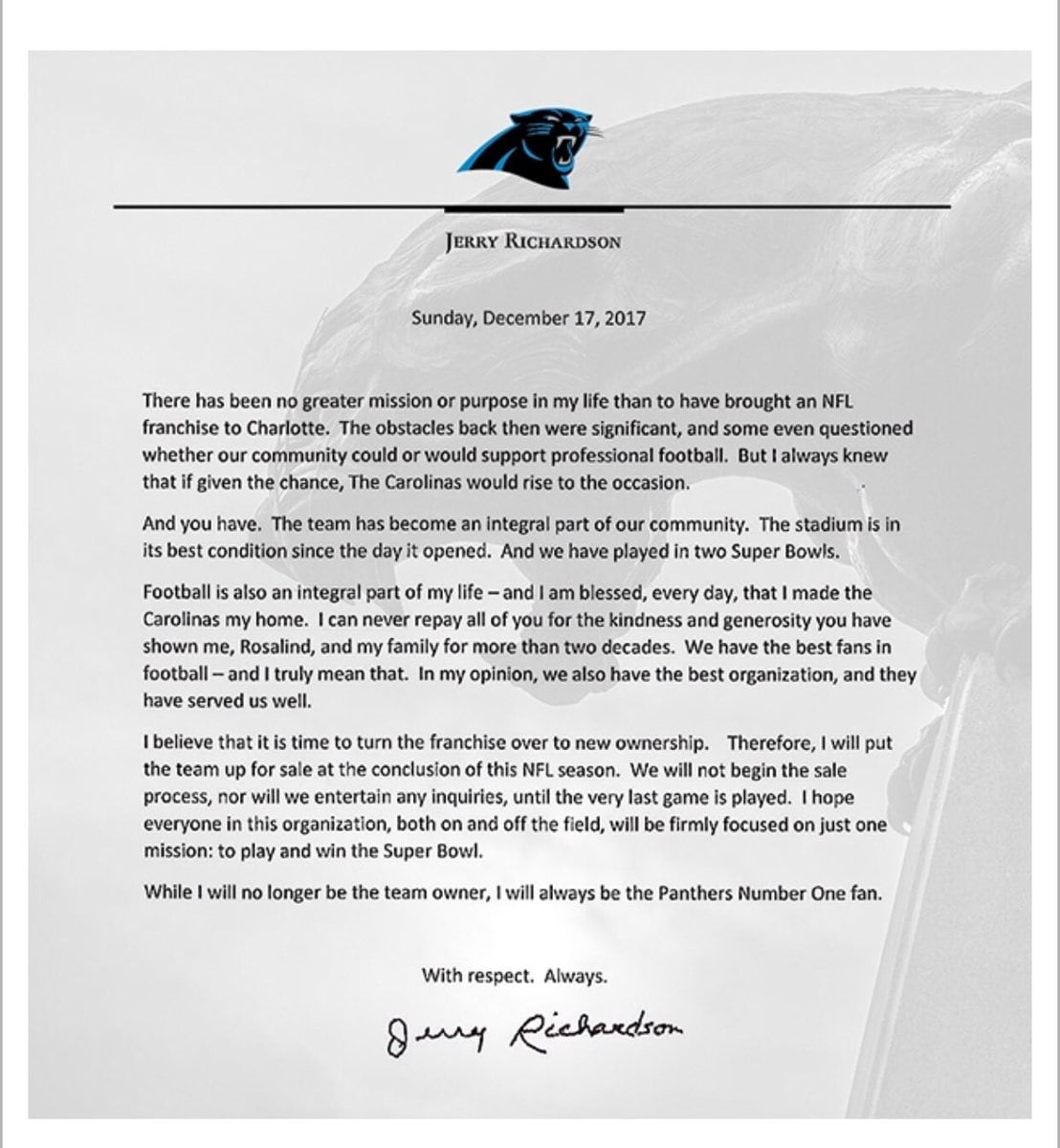 Jerry Richardson Carolina Panthers sale letter
