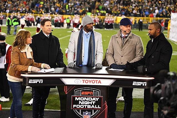 ESPN Monday Night Football Hosts Suzy Kolber, Steve Young, Randy Moss, Matt Hasselbeck and Charles Woodsen