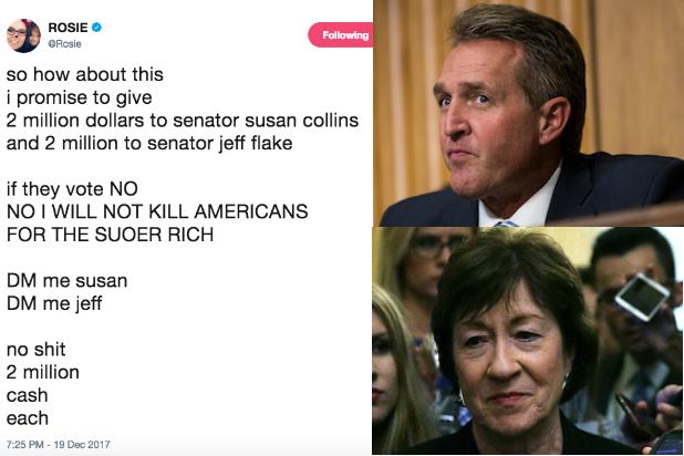 Rosie Offer Jeff Flake Susan Collins