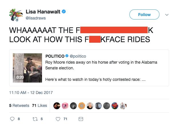 roy moore horse sassy reax tweet