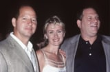 Talk Magazine founders Ron Galotti, Tina Brown and Harvey Weinstein and at the Statue of Liberty party (Getty Images)
