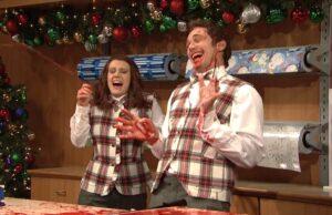 snl saturday night live james franco christmas gift wrapper bleeding everywhere