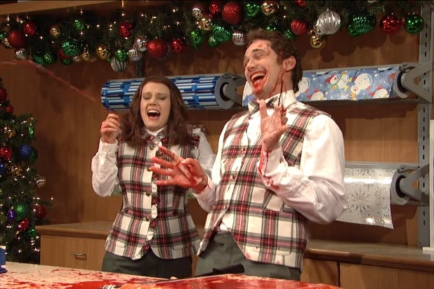 snl saturday night live james franco christmas gift wrapper bleeding everywhere