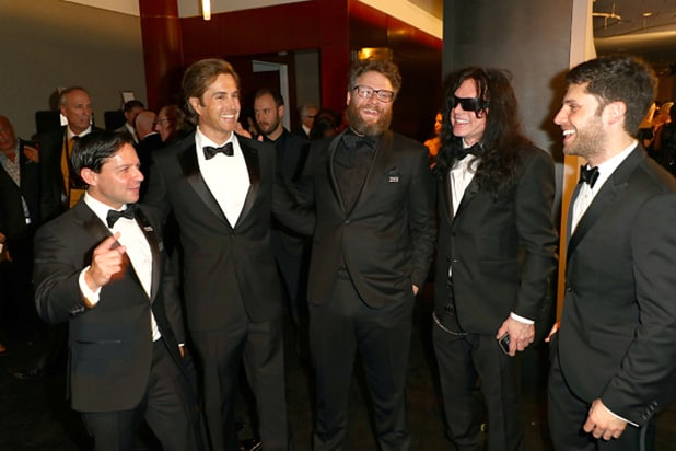 Executive-Producer-Scott-Neustadter,-Actors-Greg-Sestero,-Seth-Rogen,-and-Tommy-Wiseau,-and-Executive-Producer-Michael-H.-Weber