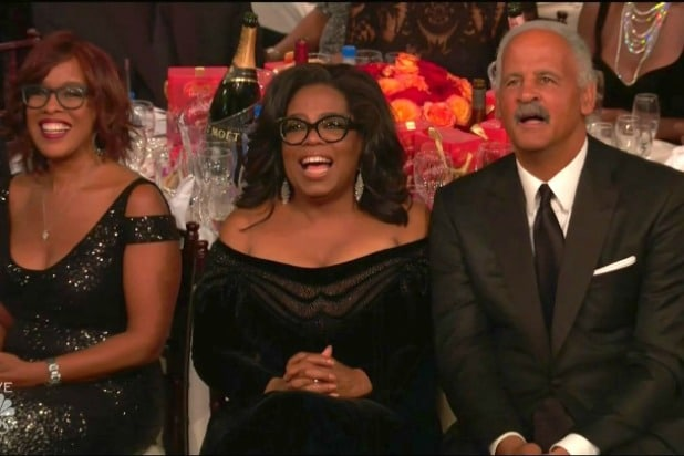 Gayle King Oprah Winfrey Stedman Graham 75th Golden Globes