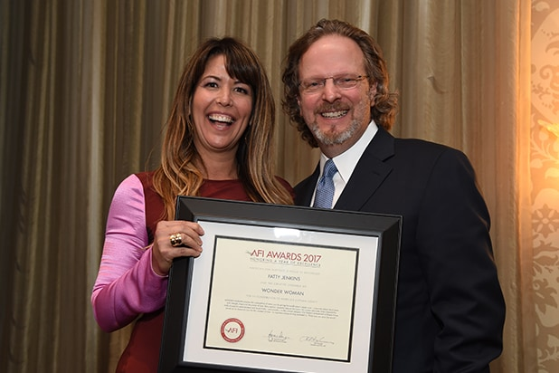 Patty Jenkins (L) and American Film Institute president and CEO Bob Gazzale