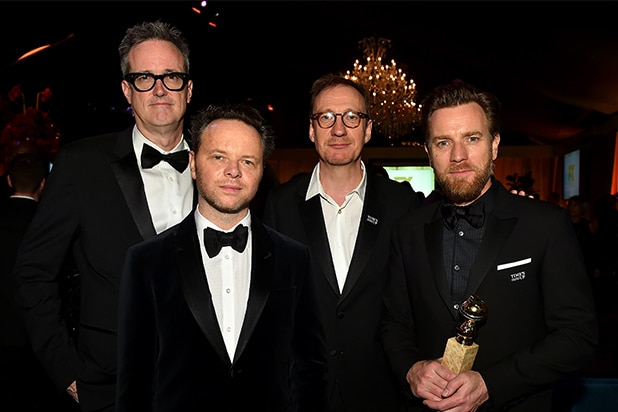 """Fargo"" Executive Producer John Cameron, ""Fargo"" Executive Producer/Writer/Showrunner/Director Noah Hawley, David Thewlis and Ewan McGregor"