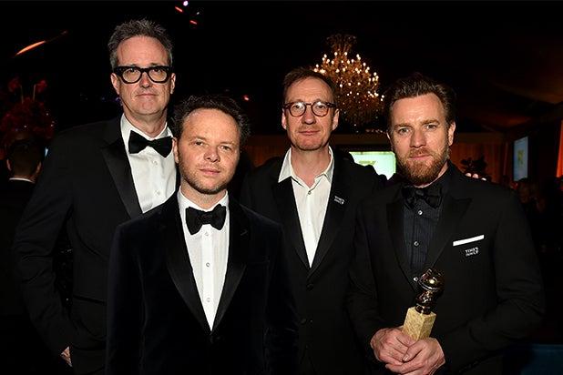 """""""Fargo"""" Executive Producer John Cameron, """"Fargo"""" Executive Producer/Writer/Showrunner/Director Noah Hawley, David Thewlis and Ewan McGregor"""