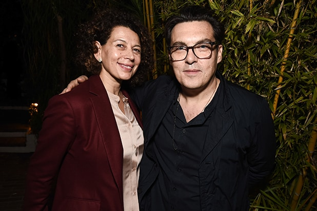 "Universal Pictures Chairman Donna Langley, left, and director Joe Wright at the Focus Features ""Darkest Hour"" Special Reception at Chateau Marmont."